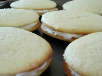 Recipe for Lemon Whoopie Pies - The original Whoopie Pie is actually chocolate cake cookie filled with a fluffy white icing, so this is quite the twist, but delicious no less.