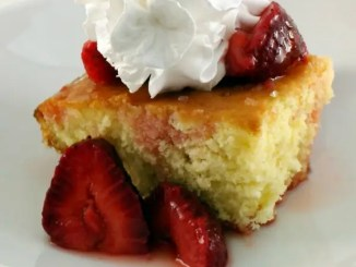 Recipe for Lime Cake with Strawberry Compote - This cake has a delicate lime essence to it and when paired with fresh fruit is the perfect summer dessert. You could use Raspberries or Strawberries. I chose Strawberries for this time.