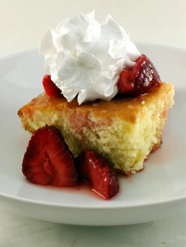 Lime Cake with Strawberry Compote