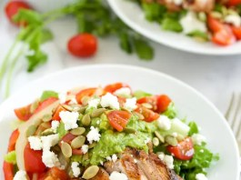 Spice up your dinner with this delicious Grilled Chicken Fajita Salad with Guacamole Dressing! Just don't count on any leftovers.