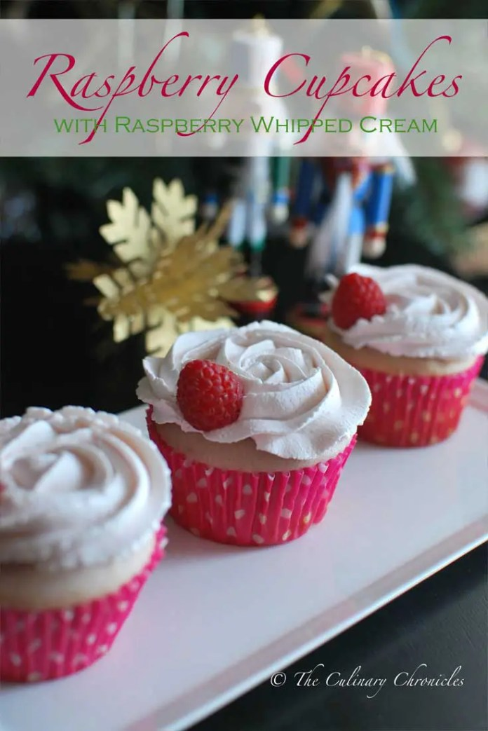 These fluffy Raspberry Cupcakes with Raspberry Whipped Cream are flavored with fresh raspberry puree. And topped with rosette swirls of raspberry flavored whipped cream. The perfect light treat that will still satisfy everyone's sweet tooth. #raspberry #cupcakes #dessert