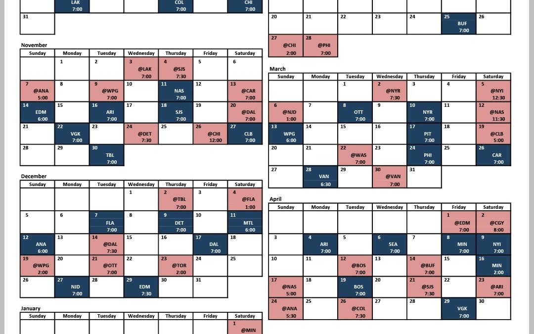 A look at the Blues Schedule for 2021-22