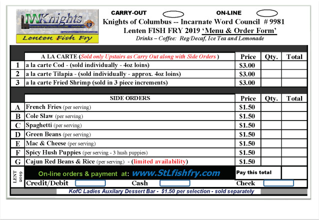 Upstairs Carry-Out / Online / Drive-Thru Menu