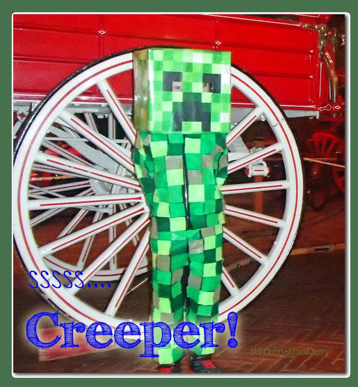 DIY Minecraft Creeper Costume by stlMotherhood