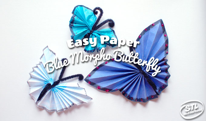 Paper folding craft: DIY Blue Morphos Butterfly