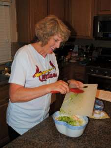 Gail making oriental salad