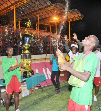 It was celebration time after Dennery All Stars won the Blackheart Productions Football Tournament.