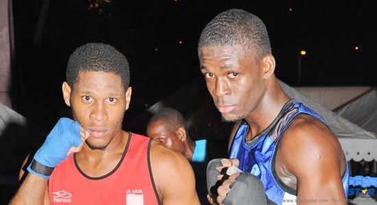 """Ron Bastien (l) and Lyndell """"The Russian"""" Marcellin (r) are two of three boxers preparing for the Goodwill Boxing Tournament in Guyana."""