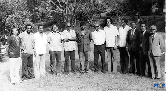 Prime Minister Allan Louisy (deceased), fifth from left, with his 1979 Cabinet in the grounds of Government House. Yes, that is Kenny Anthony, lean and Afro-ed. Kenneth Foster is third from the right.  All but four of those pictured have passed on.