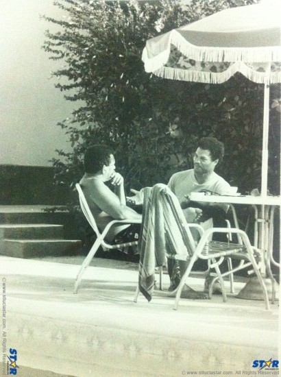 Nobel winner-in-waiting Derek Walcott compare notes with Rick Wayne on an early morning in May 1987.