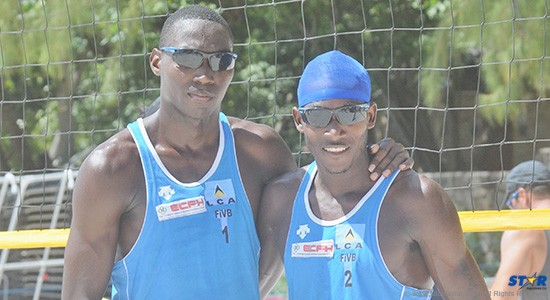 St Lucia's beach volleyball dynamic duo Julian Biscette (l) and Joseph Clercent.