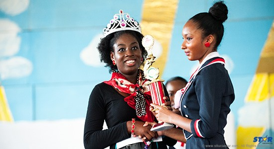 Sixteen-year-old Tameca Caul (left): The Barre Denis resident was crowned by last year's Miss Red Cross.