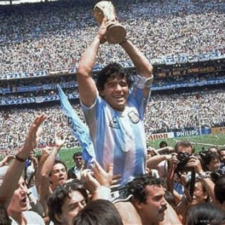 El Diego hoisted with the World Cup trophy following West Germany's second consecutive World Cup final defeat and Argentina's last triumph in the competition.