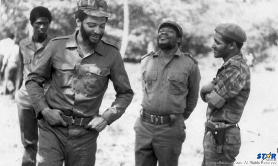 The early days: Maurice Bishop, General H. Austin and Lieutenant George Cherubin circa 1979. (Photo: invent-the-future.org)