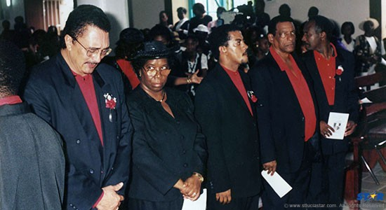 The eyes have it! Left to right, a weeping Prime Minister Kenny Anthony, a seemingly perplexed governor general Pearlette Louisy, deputy prime minister Mario Michel, foreign affairs minister George Odlum  and distracted agriculture minister Cassius Elias at Kenneth John's funeral ceremony in 1998.