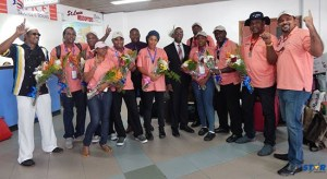 Saint Lucia Culinary Team greeted by SLHTA officials and the minister of tourism at Hewanorra International Airport.
