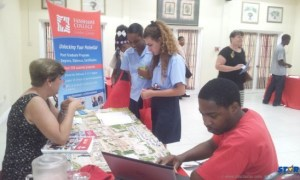 Students receiving information about higher education in Canada.