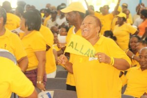 The crowd erupted at the presence of political leader Allen Chastanet.