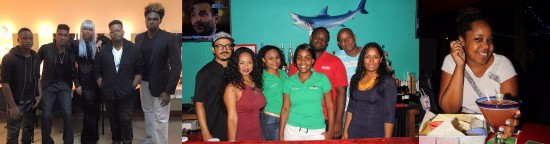 (Left) The group 2 Mile Hill out of Barbados will perform at Coconutz's first anniversary party. (Centre) Coconutz staff (l-r): Javier (Chef), Aniona (Manager), Amy (Bartender), Crystal (Cocktail waitress), Kenson (Bartender), Junior (Manager), Krystle (Manager). (Right) Good food, wonderful entertainment and great cocktails is what patrons love about Coconutz.