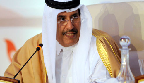 "Sheikh Hamad bin Jassim al-Thani speaks at the first ""Friends of Syria"" conference in Tunis (AFP)"