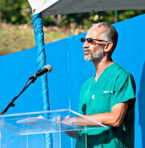 Dr. Stephen King speaking at the hospital naming ceremony.
