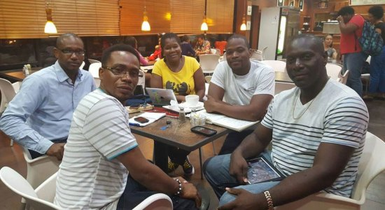 Media workers association executive seen here last week strategizing ahead of a planned extraordinary meeting scheduled for this Sunday April 24 to discuss the current media climate.