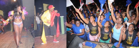 (Left) Gracing the stage in the name of Inter-Commercial Calypso, (Centre) 1st National Bank rocks the Cultural Centre with Your Own Party (Right) Police supporters turn out in large numbers.