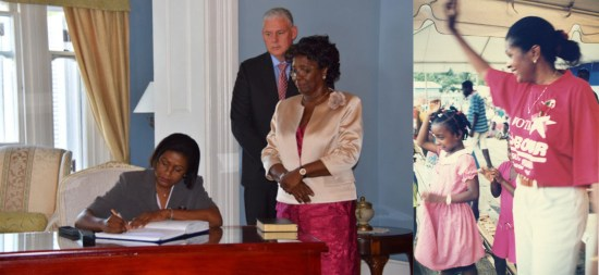 (Left) Musical chairs was never like this: Several days after swearing to serve as deputy House Speaker, Castries Central MP Sarah Flood-Beaubrun resigned to swear a second time to take charge of several portfolios including External Affairs. Also pictured, Governor General Dame Pearlette Louisy and Prime minister Allen Chastanet. (Right) Back in the day: The year was 1997. A couple days after this picture was taken at an unforgettable campaign rally in Vieux Fort, a then unmarried Sarah Flood was elected to office with fifteen others led by Kenny Anthony.