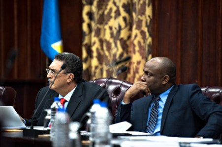 Former Prime Minister and constitutional law lecturer Kenny Anthony (left): Will his comments in relation to Operation Restore Confidence come back to haunt him?