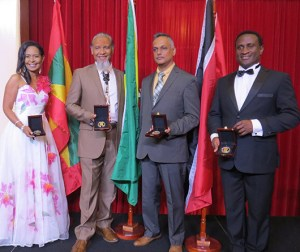 2017 Laureates (left) Shadel Nyack Compton of Grenada (Entrepreneurship), Winslow Craig of Guyana (Arts & Letters), Dr Christopher Arif Bulkan of Guyana (Public & Civic Contributions) and Mr Kwamé Ryan of Trinidad & Tobago (Arts & Letters).