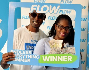 Fernella St Brice was a $300.00 WINNER with Flow, just by topping up her mobile phone $15.00 or more