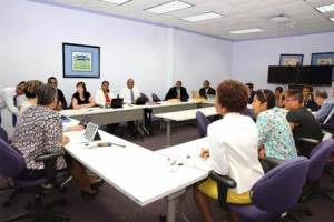 Members of the ILO Decent Work Team and Office for the Caribbean meeting with representatives of the Caribbean Development Bank (CDB)