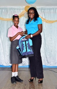 Hileea Joachim, National Science Fair Winner, got a bag from Glow and free service for six months