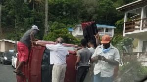 Vehicle Overturns At Gros Islet