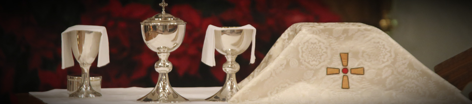 communion table with poinsettias
