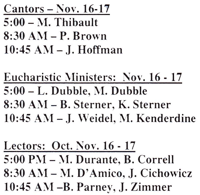 Cantors and Lectors and Eucharistic Ministers for Nov 16