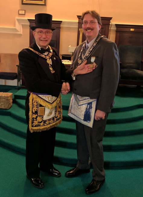 Pictured above, Most Worshipful John Gordon (left) and Wor. Scot Newbury