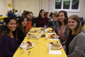 A table of diners at the Rally Day breakfast