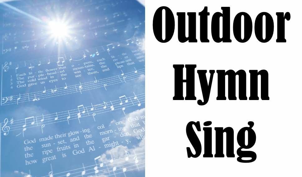 Outdoor Hymn Sing with sheet music illustration