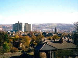 View over Broomhill from Crookes, with the church and the hospital in the foreground