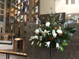 Flower display in church