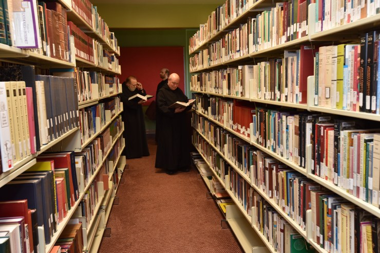Monks studying in the private monastic library.