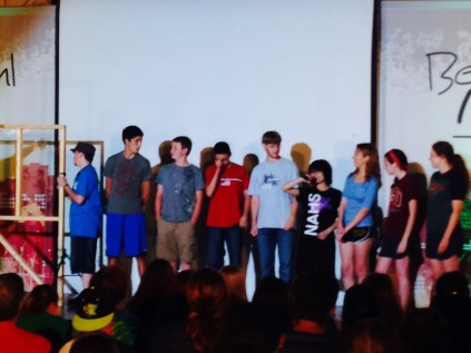 some of our students on stage for a game.