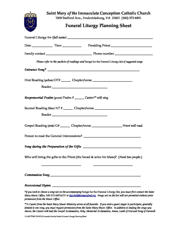 Catholic Funeral Planning Worksheet Tutore