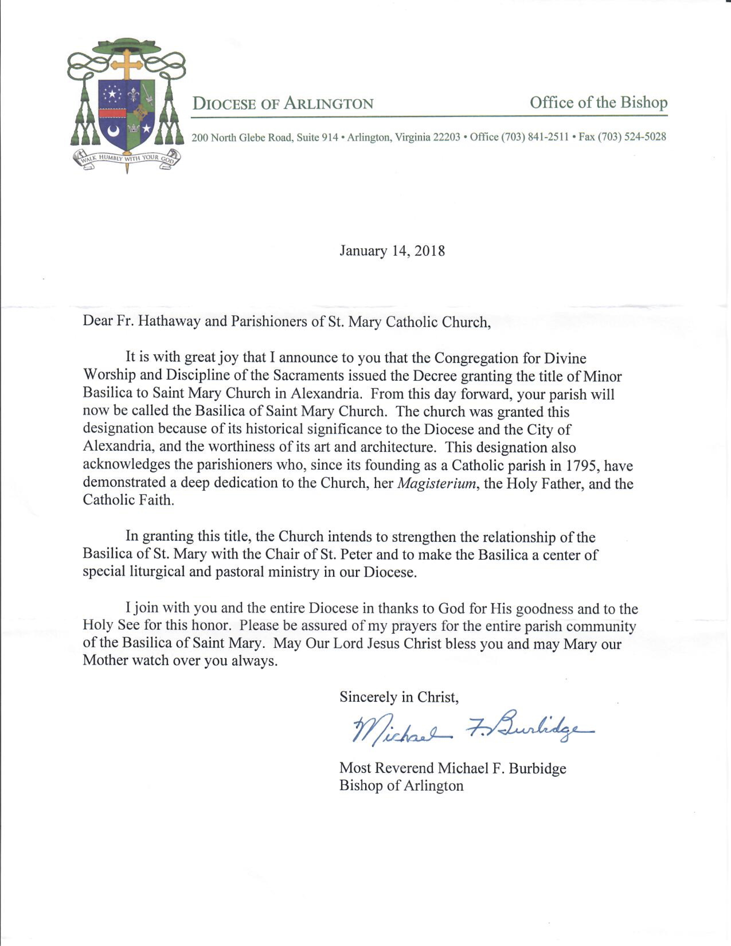 Letter From Bishop Burbidge The Basilica Of Saint Mary