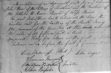 Contract for construction of the second church building in 1860, signed by trustees Thomas Murphy, Christian Billstein and Melchior Buesseler.