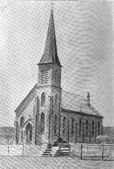 "An 1890s view of the current church, as it appeared in the 1899 book ""The Catholic Church in Wisconsin."""