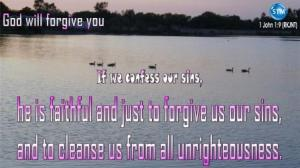 Picture of calm lake with ducks for the god will forgive you bible study 1 John 1:9