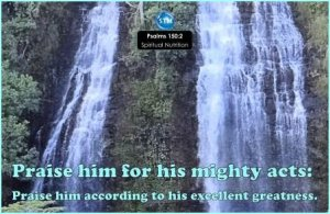 Picture of waterfall for the spiritual nutrition page Psalms 150:2