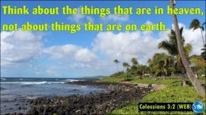 Picture of tropical paradise for the Christian life bs Colossians 3:2